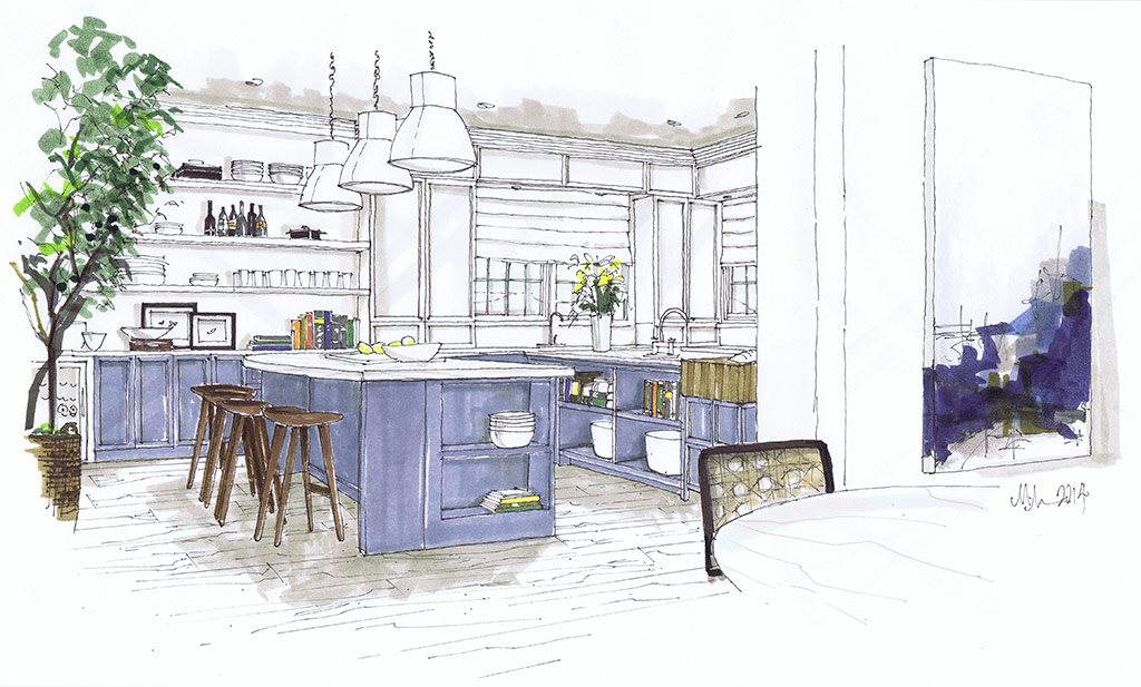 The fabulous renderings of designer michelle morelan for Interior designs by michelle